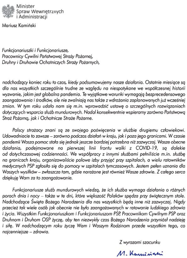 Życzenia Ministra Spraw Wewnętrznych i Administracji Mariusza Kamińskiego